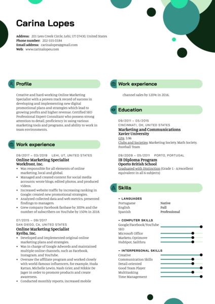 Online Marketing Specialist Resume Template