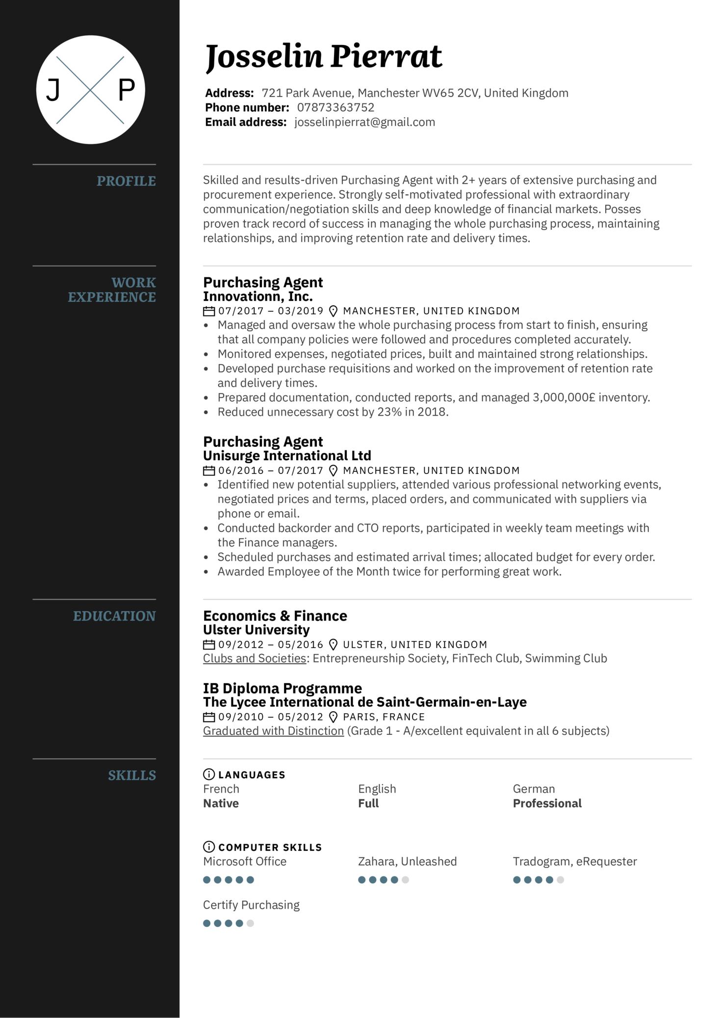 Purchasing Agent Resume Sample (Part 1)