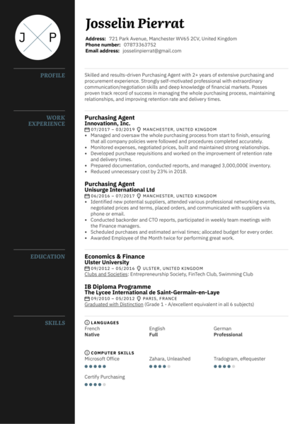 Purchasing Agent Resume Sample
