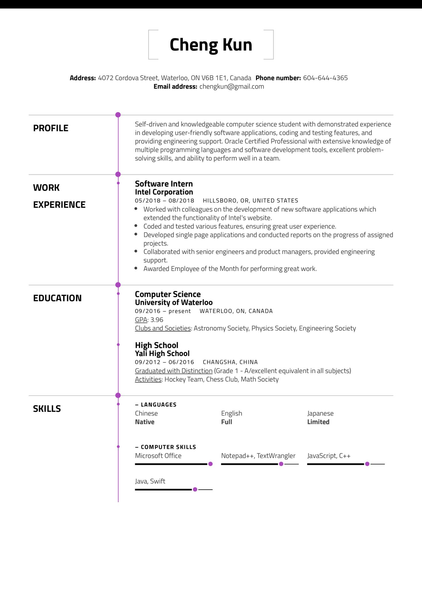 University Student Resume Template (Teil 1)