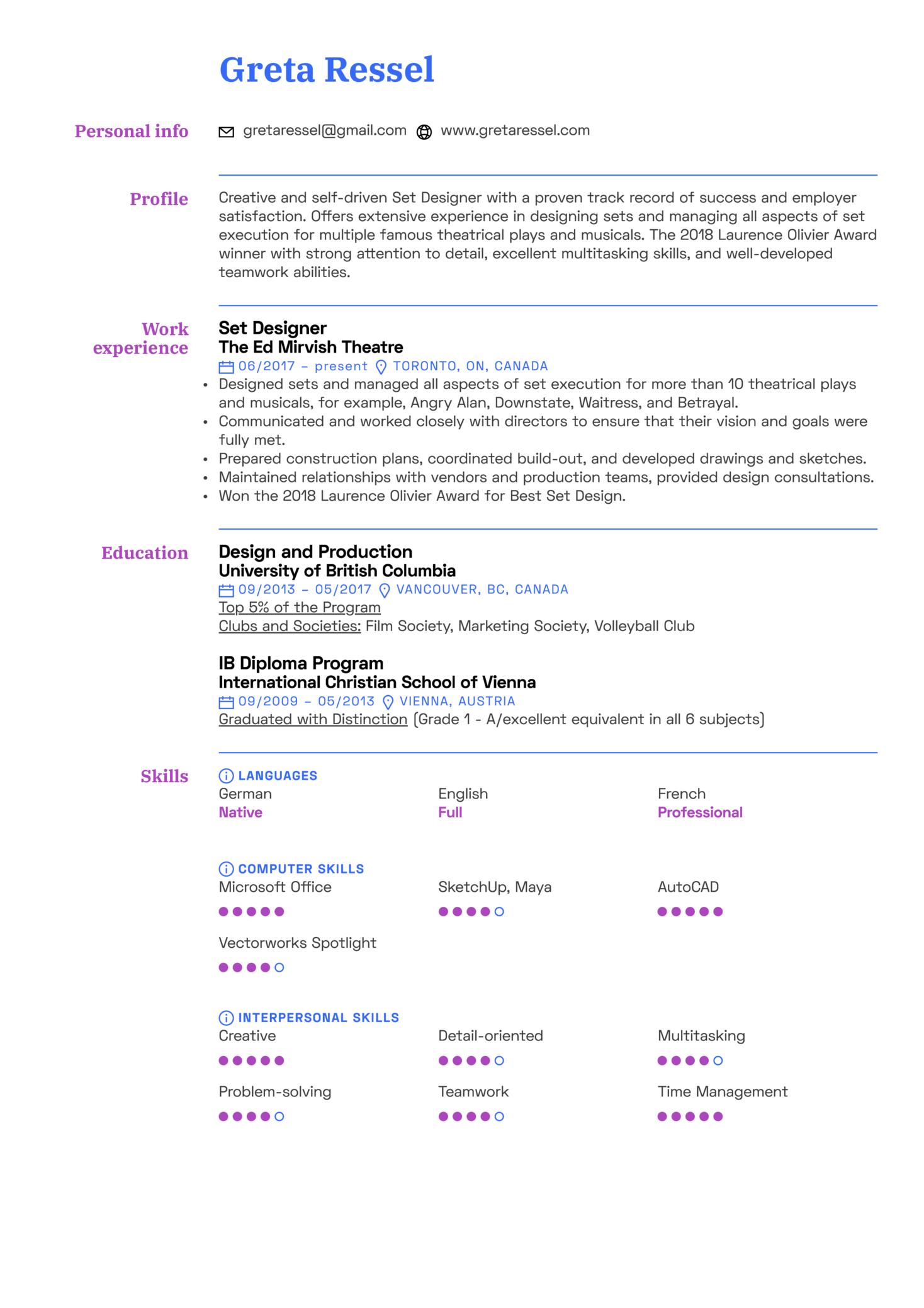 Set Designer Resume Template (Parte 1)