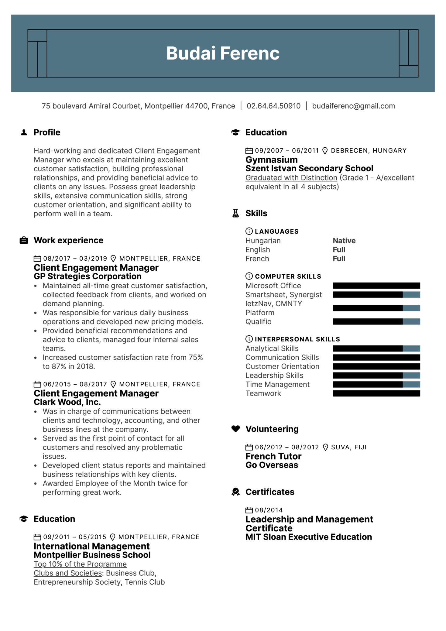 Client Engagement Manager Resume Sample (parte 1)