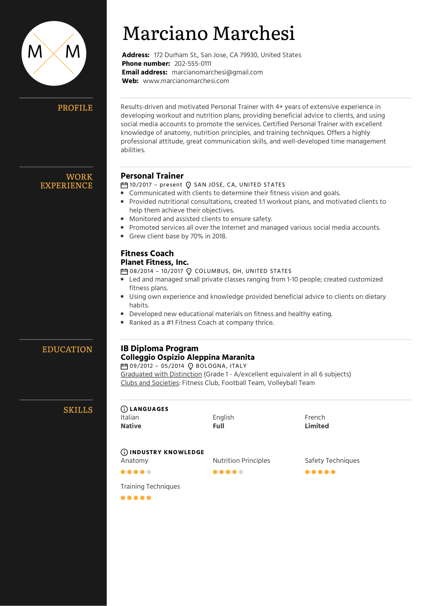 Personal Trainer Resume Sample (Part 1)