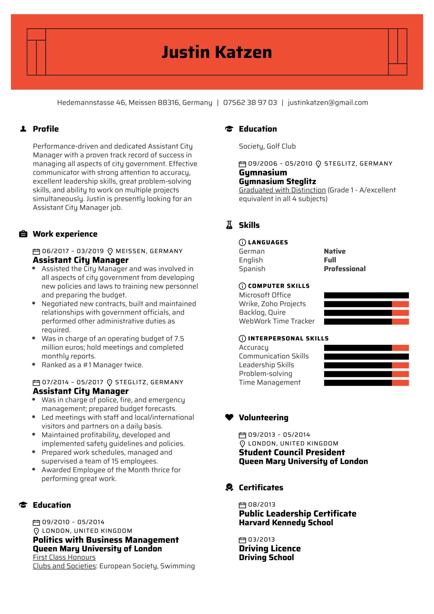 Assistant City Manager Resume Example (časť 1)