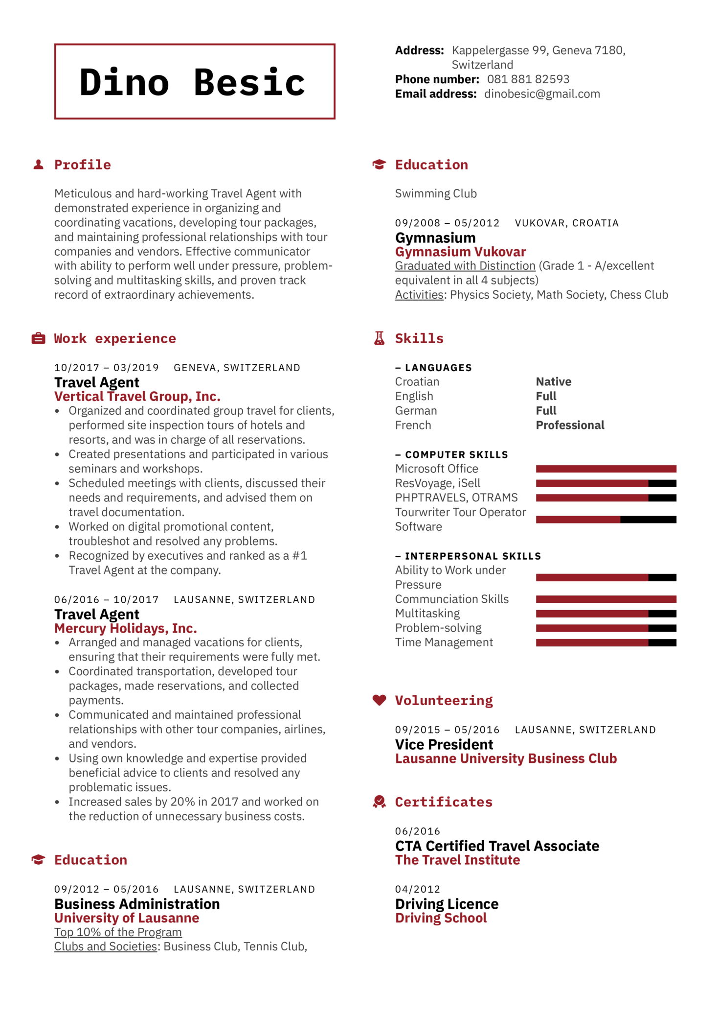 Travel Agent Resume Template (Teil 1)
