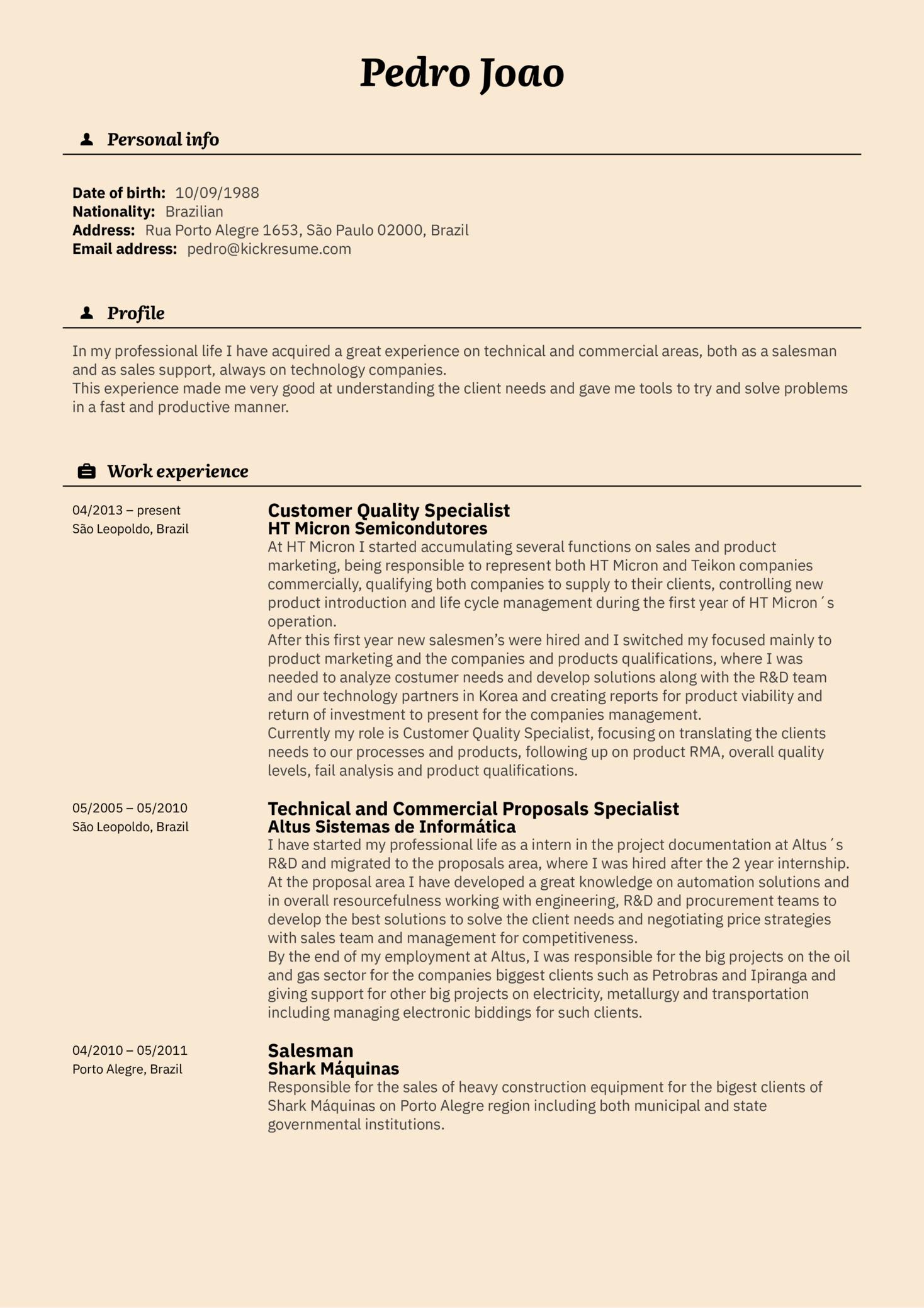 Vodafone Customer Specialist Resume Example (Part 1)