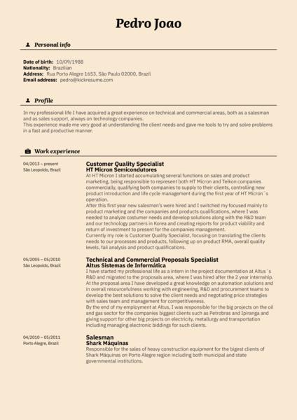 Vodafone Customer Specialist Resume Example