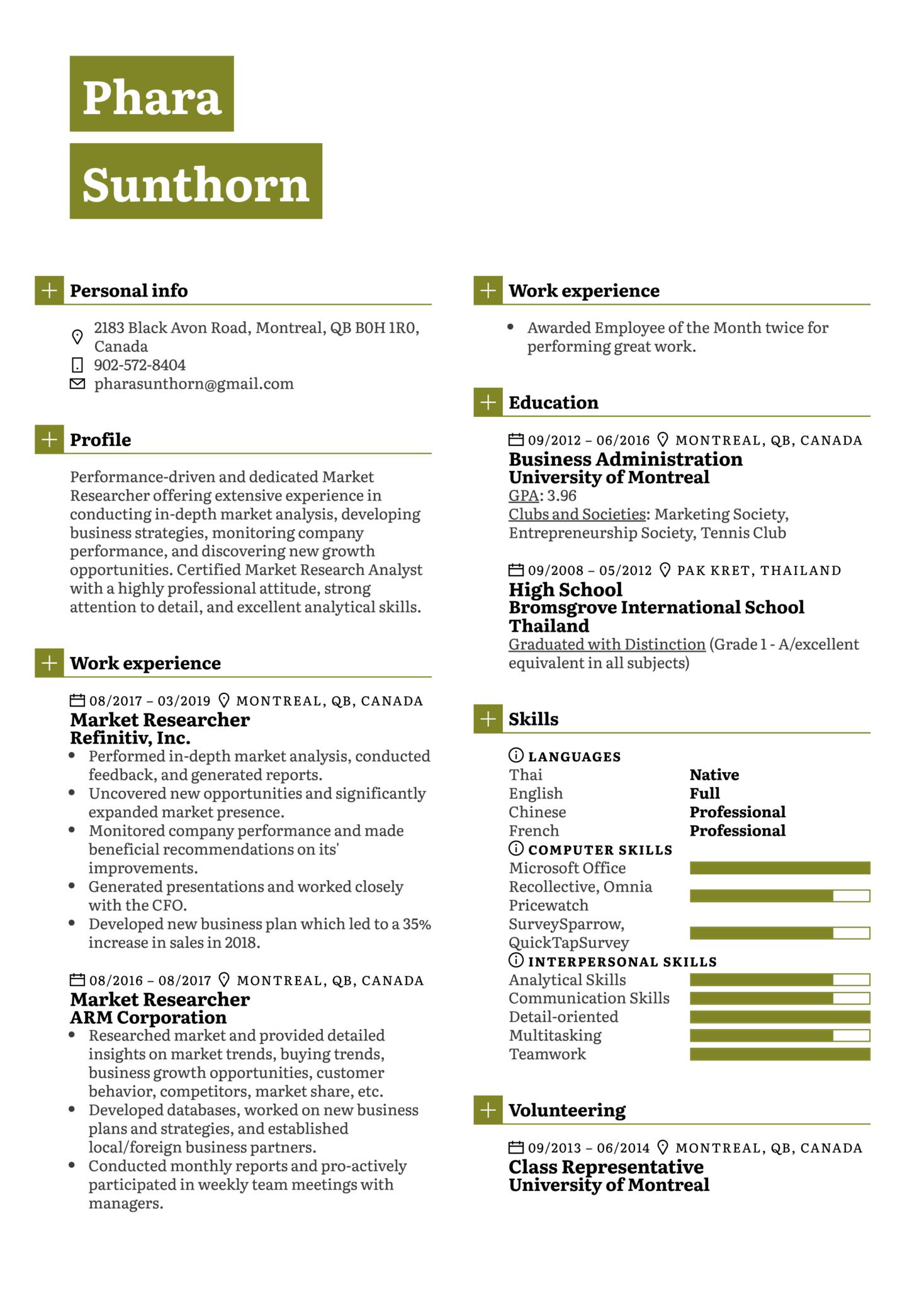 Market Researcher Resume Sample (Part 1)