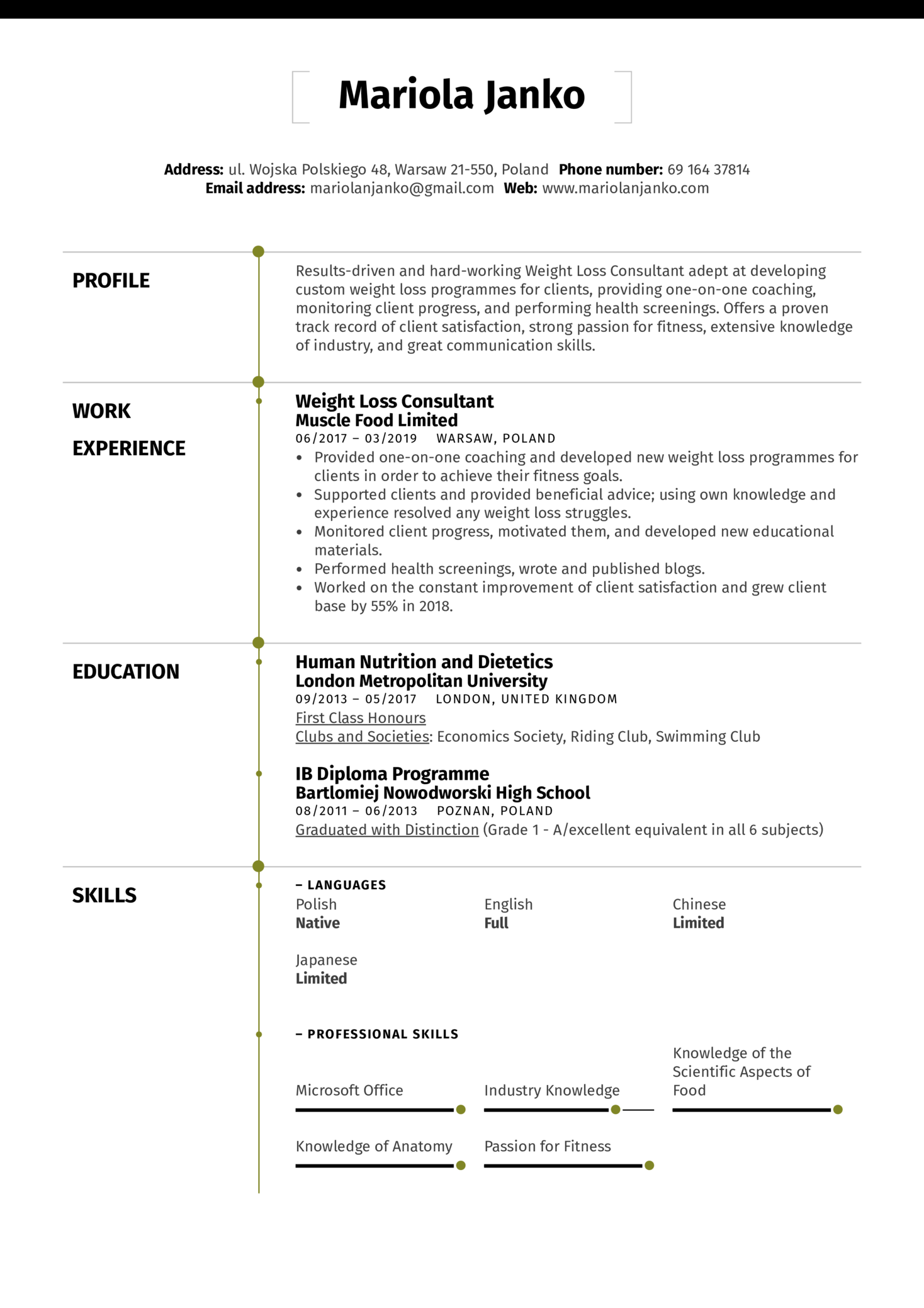 Weight Loss Consultant Resume Sample (Part 1)