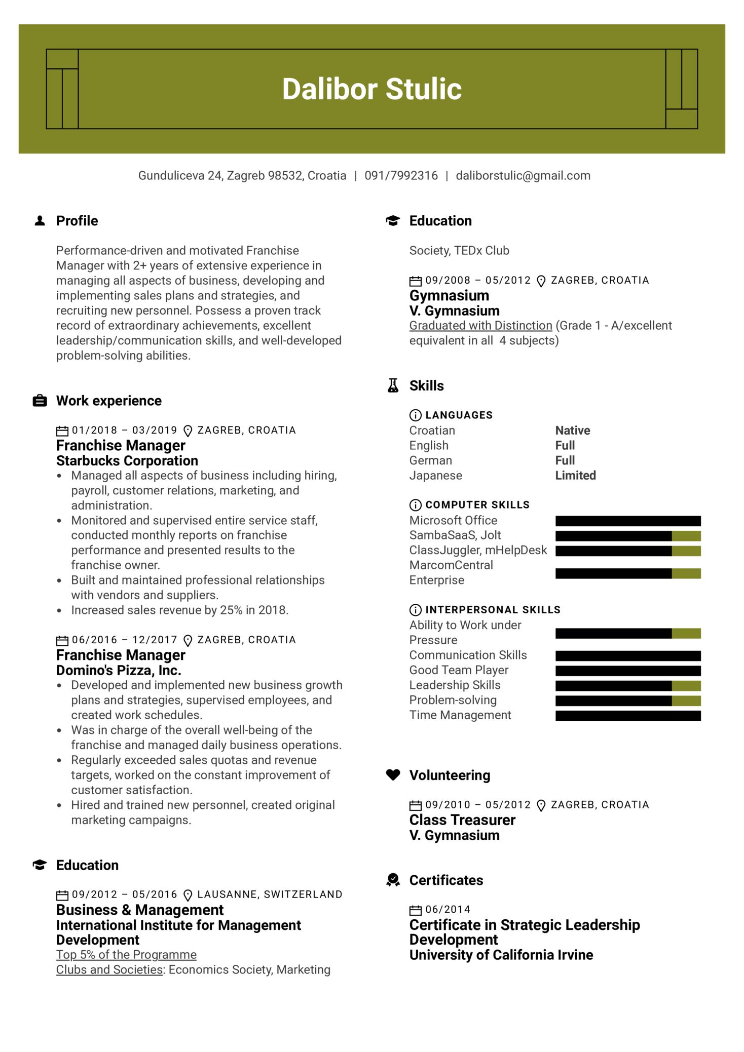 Franchise Manager Resume Sample (Part 1)