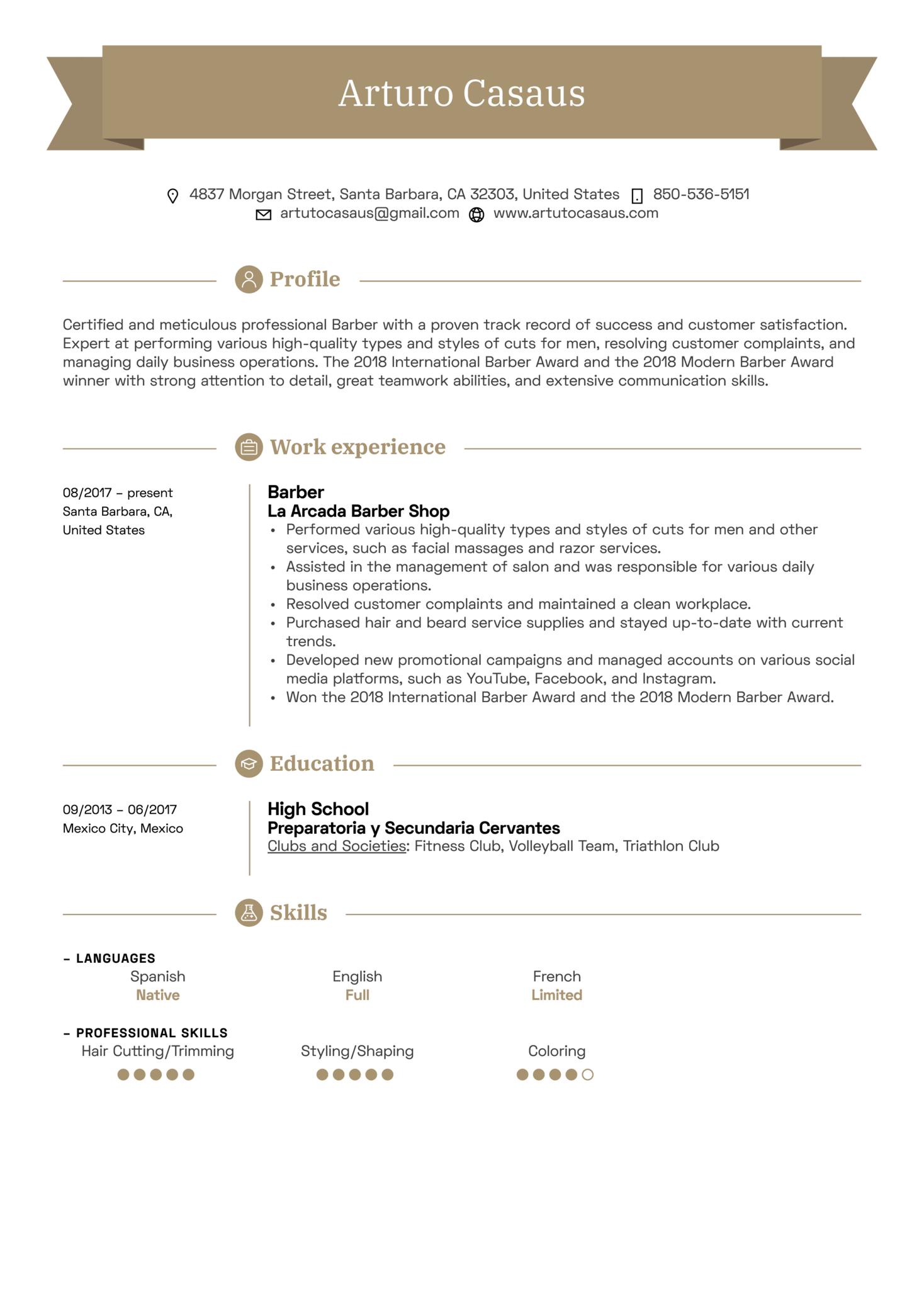 Barber Resume Sample (Part 1)