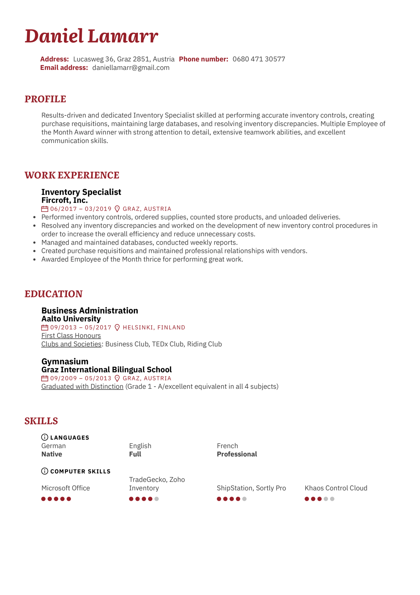 Inventory Specialist Resume Sample (Part 1)