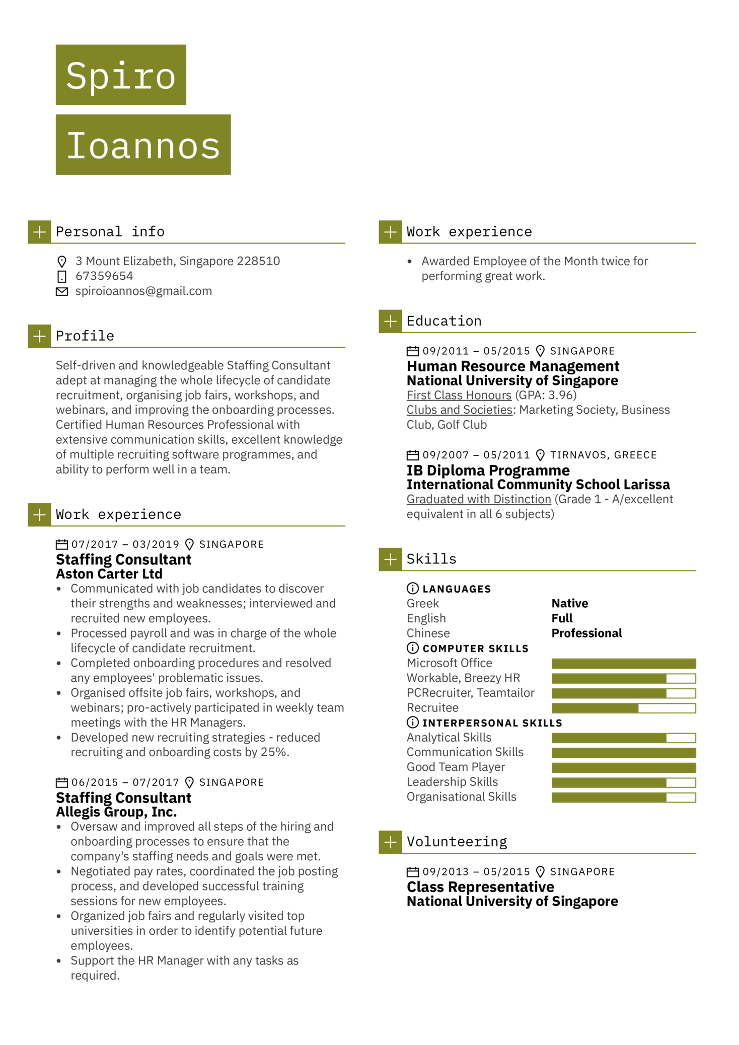 Staffing Consultant Resume Sample (časť 1)