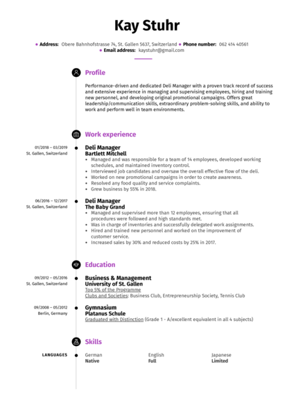 Deli Manager Resume Example