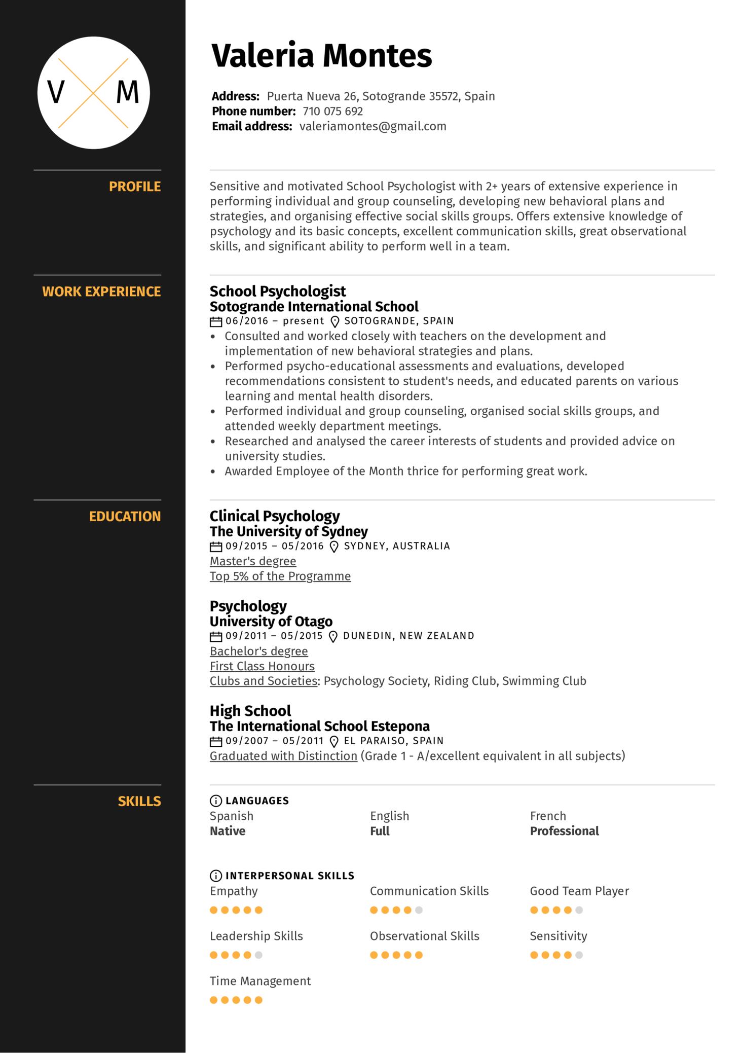 School Psychologist Resume Sample (Part 1)