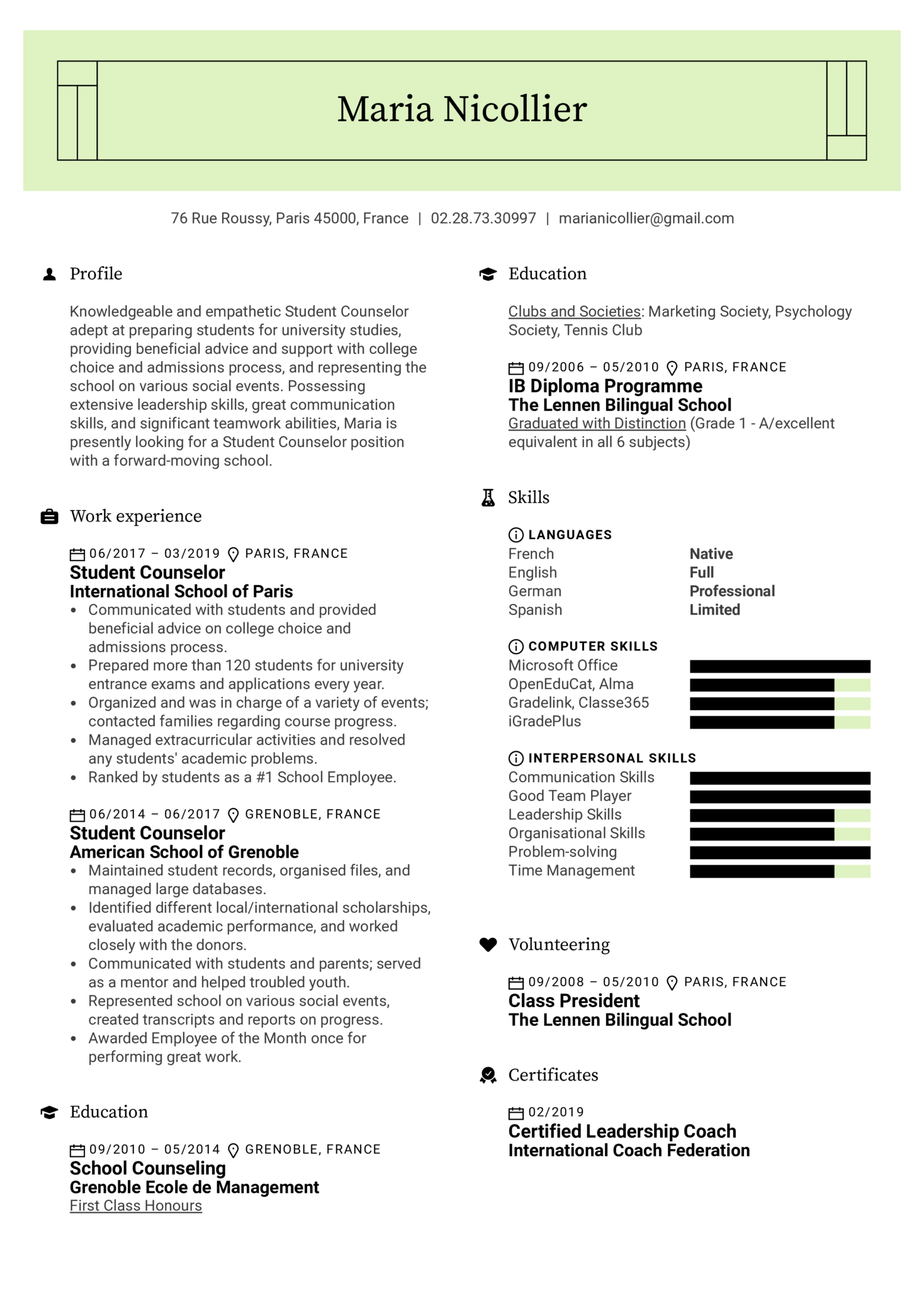 Student Counselor Resume Sample (Parte 1)