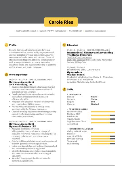 Revenue Accountant Resume Sample