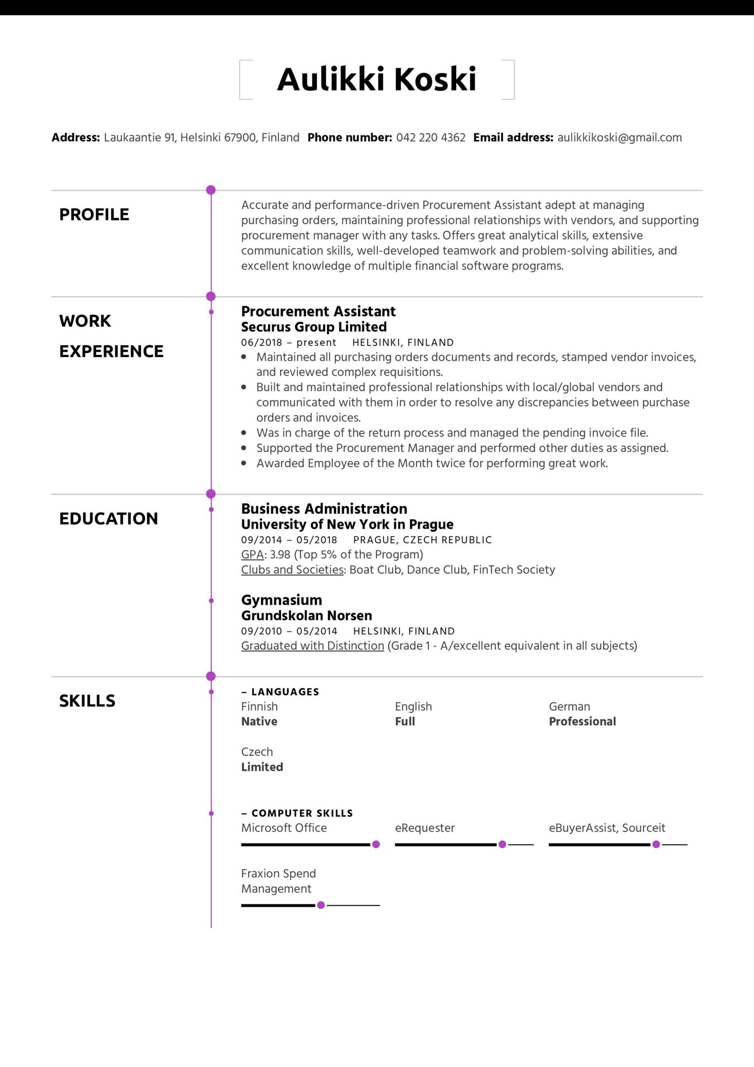 Procurement Assistant Resume Sample (Teil 1)