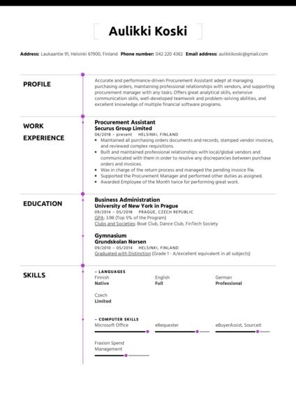 Procurement Assistant Resume Sample