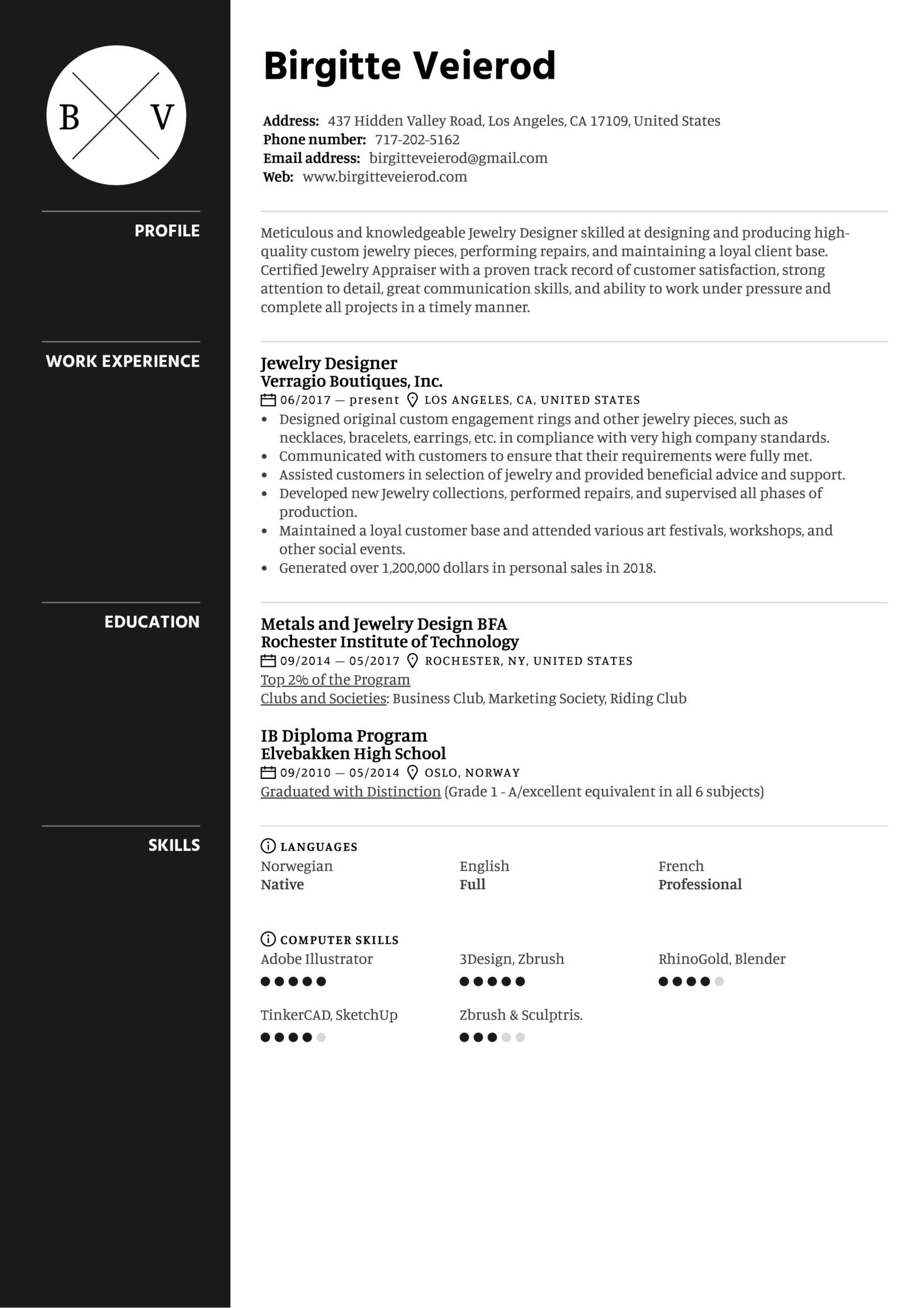 Jewelry Designer Resume Sample (parte 1)