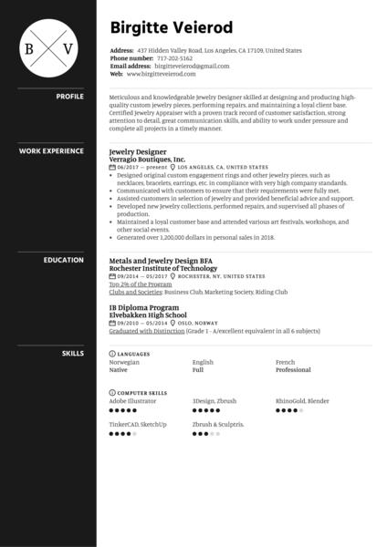 Jewelry Designer Resume Sample