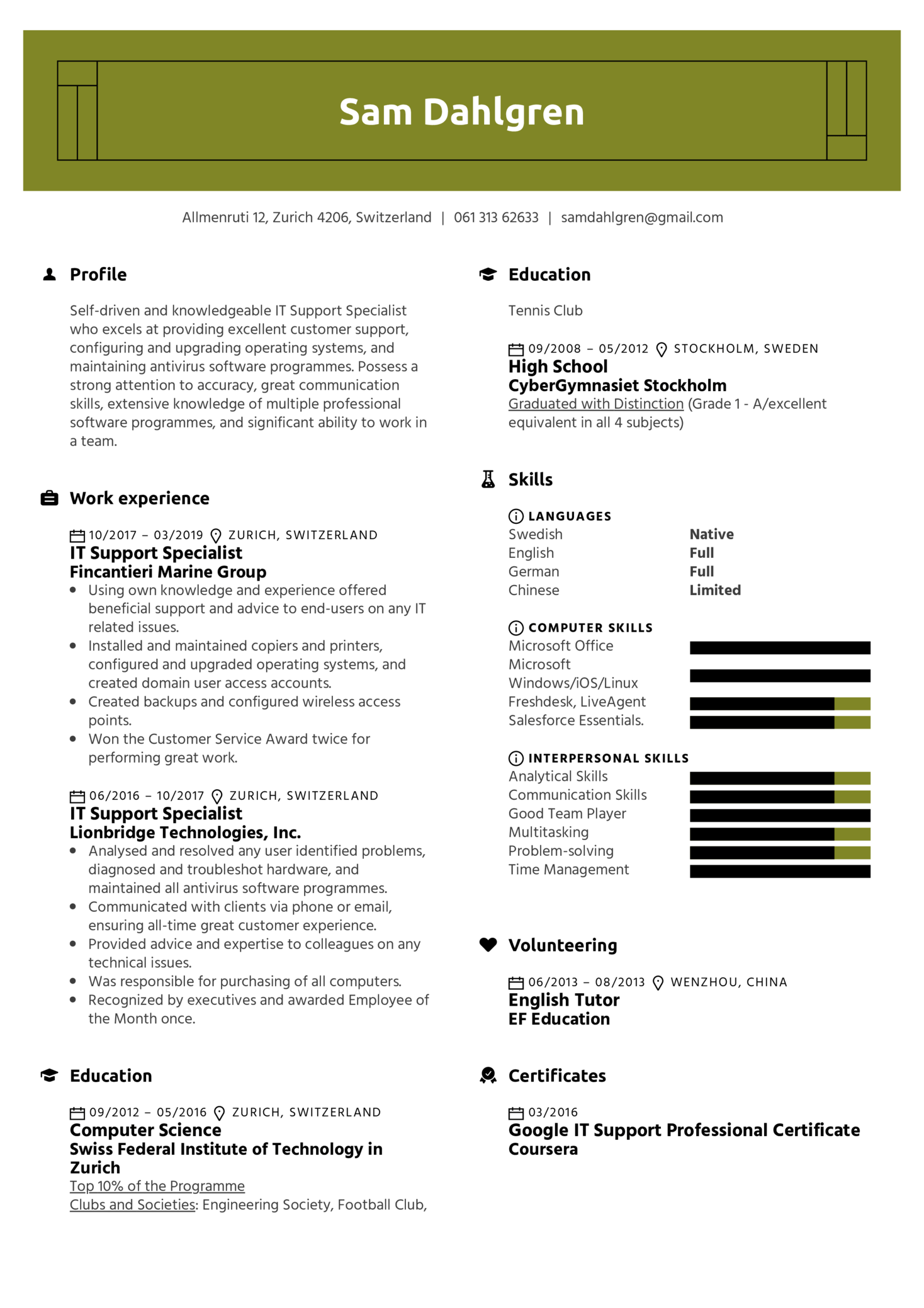 IT Support Specialist Resume Template (parte 1)