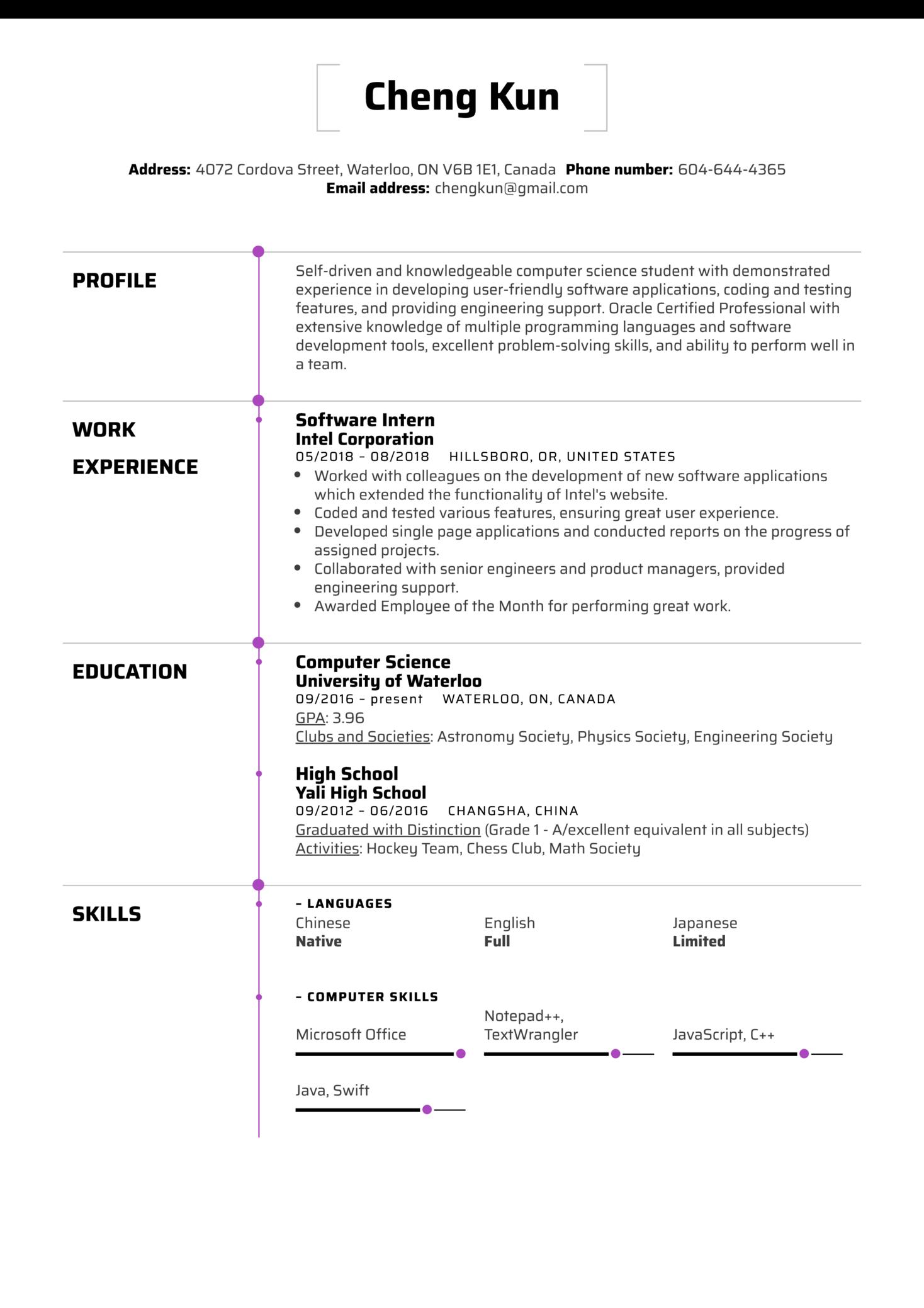University Student Resume Example (parte 1)