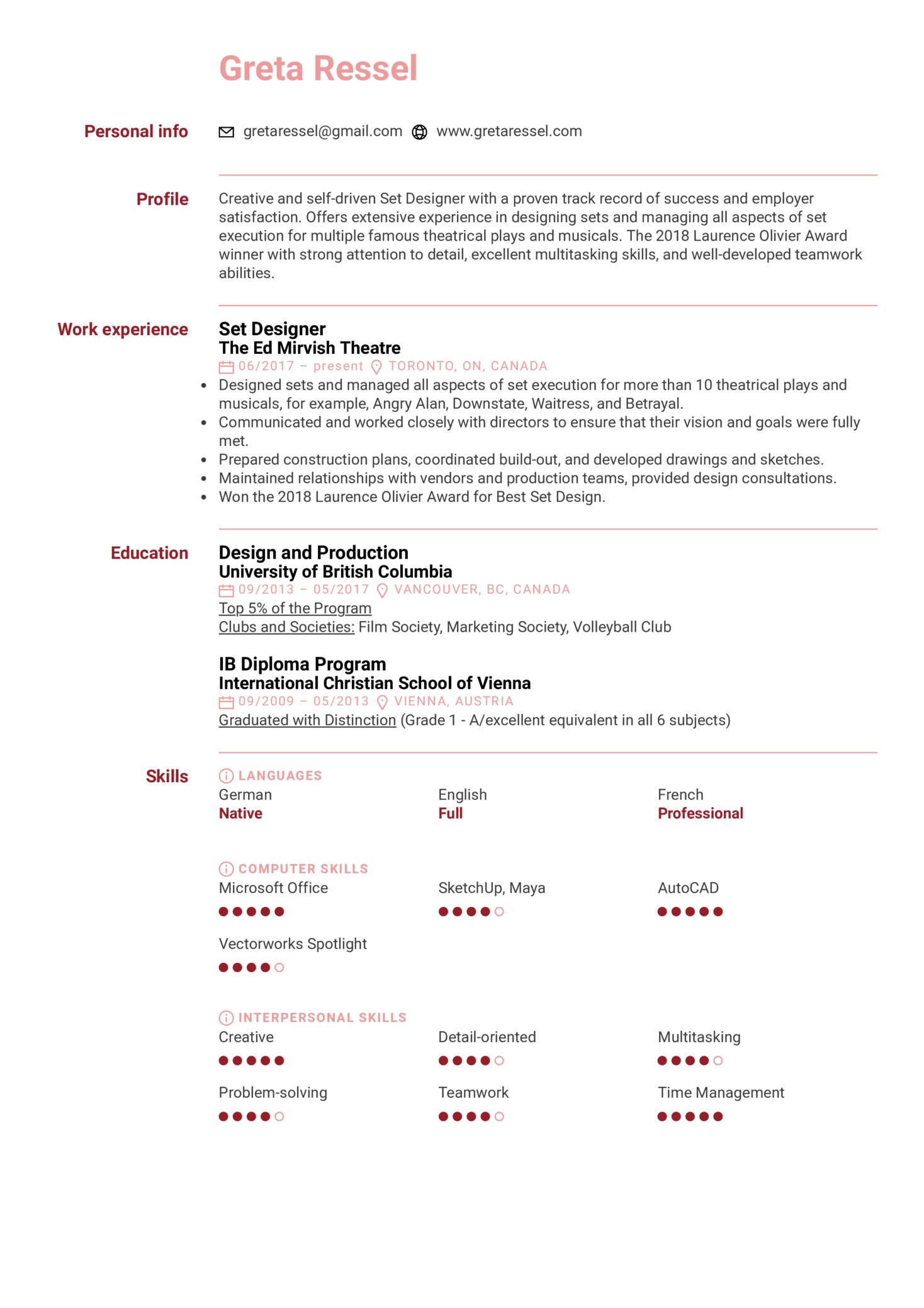 Set Designer Resume Sample (Part 1)