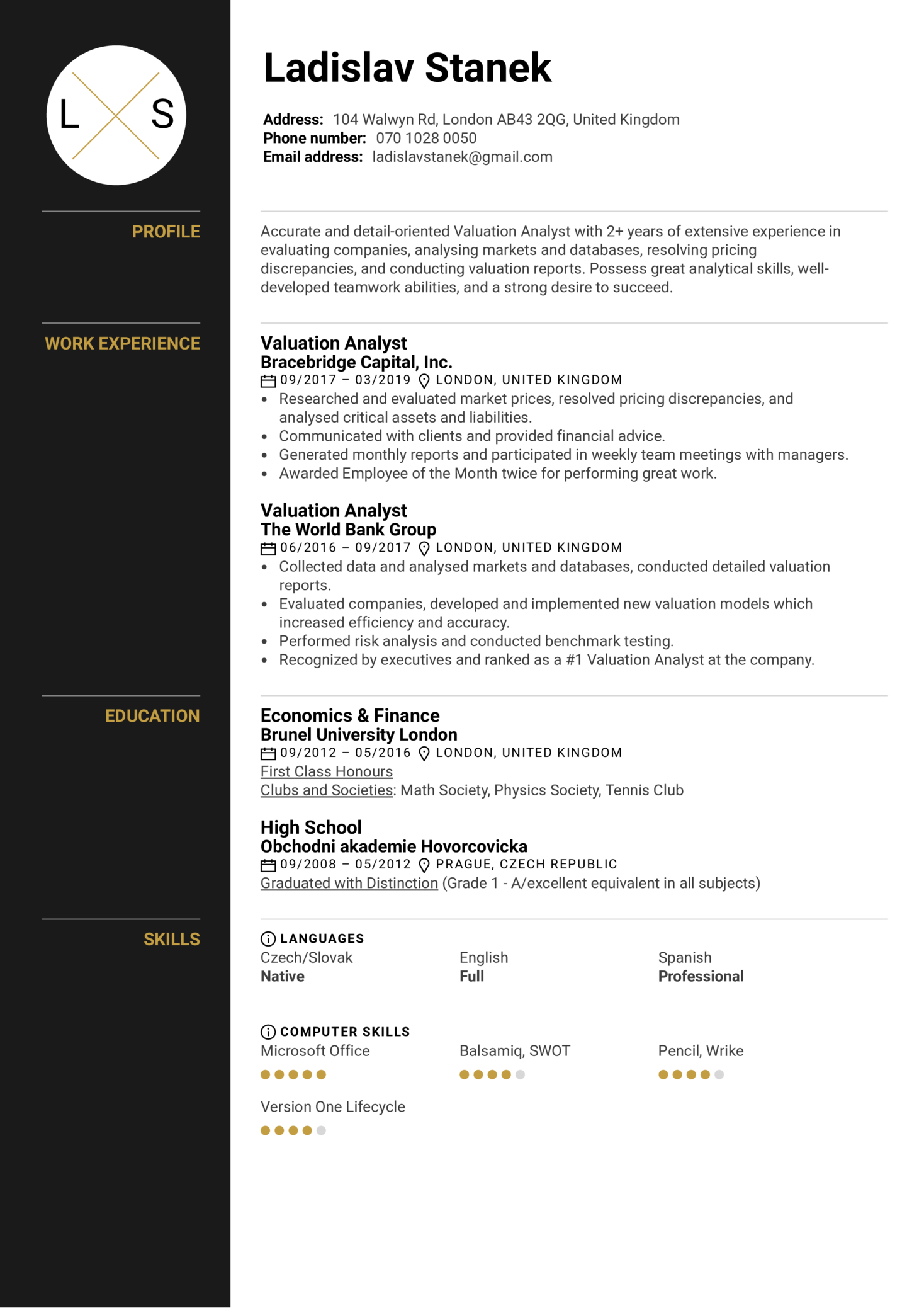 Valuation Analyst Resume Example (Part 1)