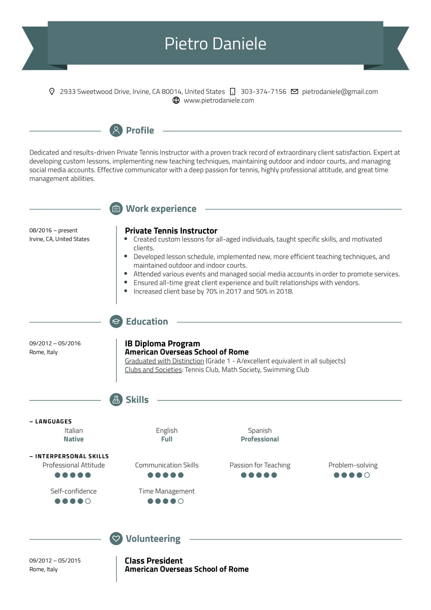 Tennis Instructor Resume Example (parte 1)