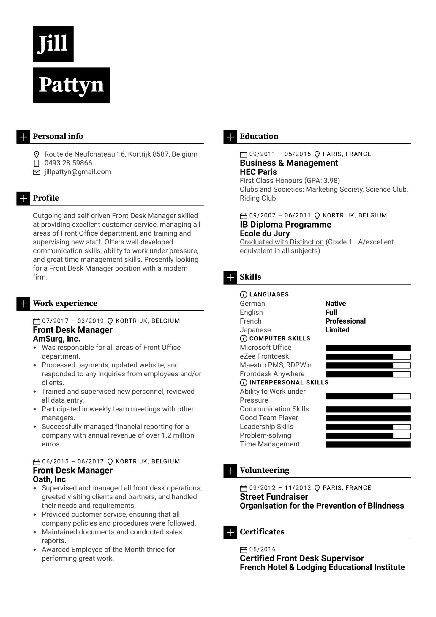 Front Desk Manager Resume Sample (parte 1)