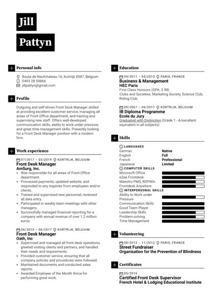Front Desk Manager Resume Sample