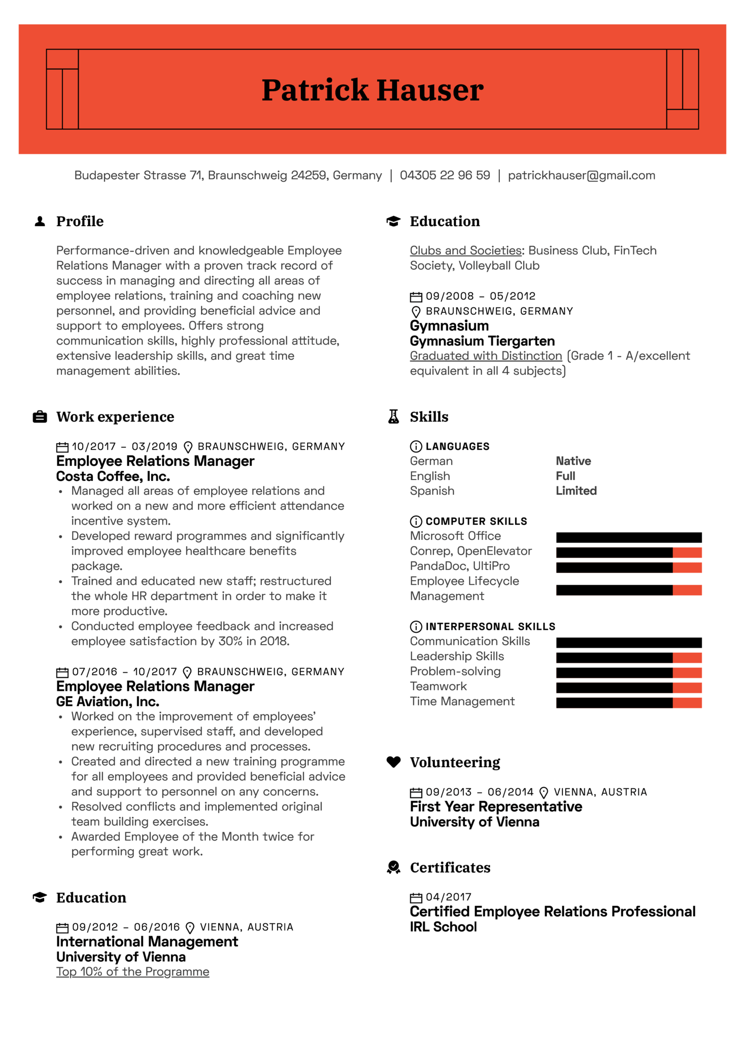 Employee Relations Manager Resume Sample (Teil 1)