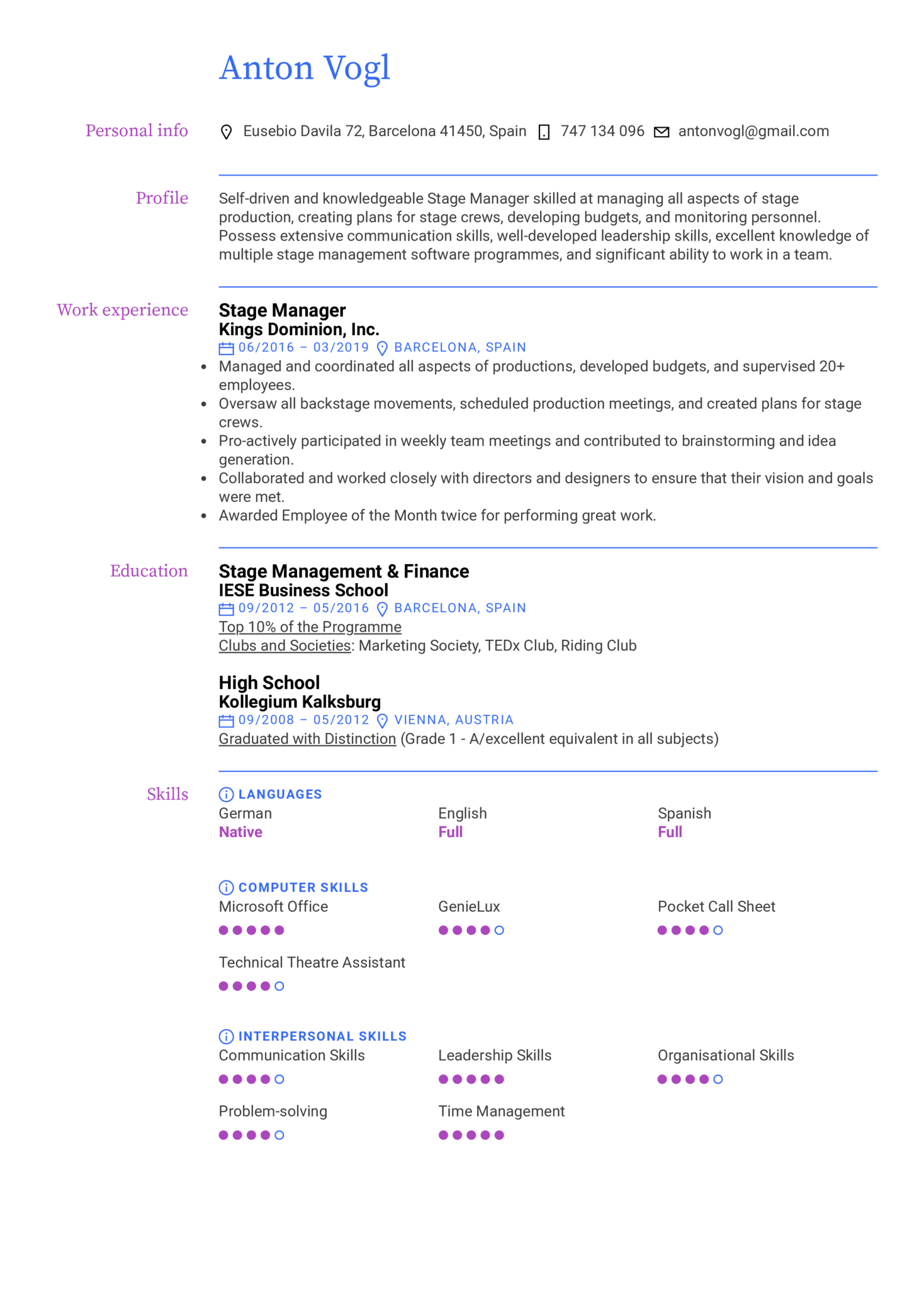 Stage Manager Resume Example (Part 1)