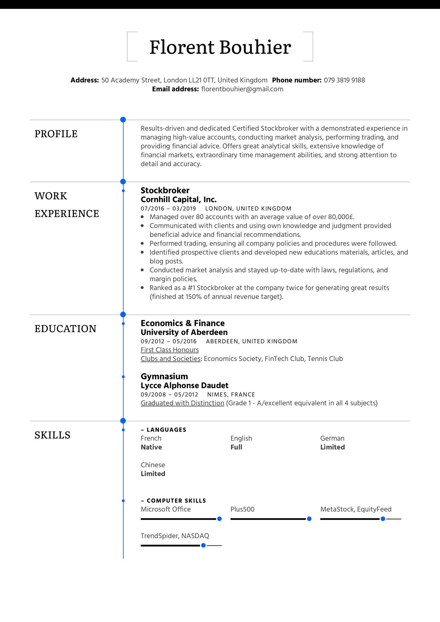 Stockbroker Resume Sample (Part 1)