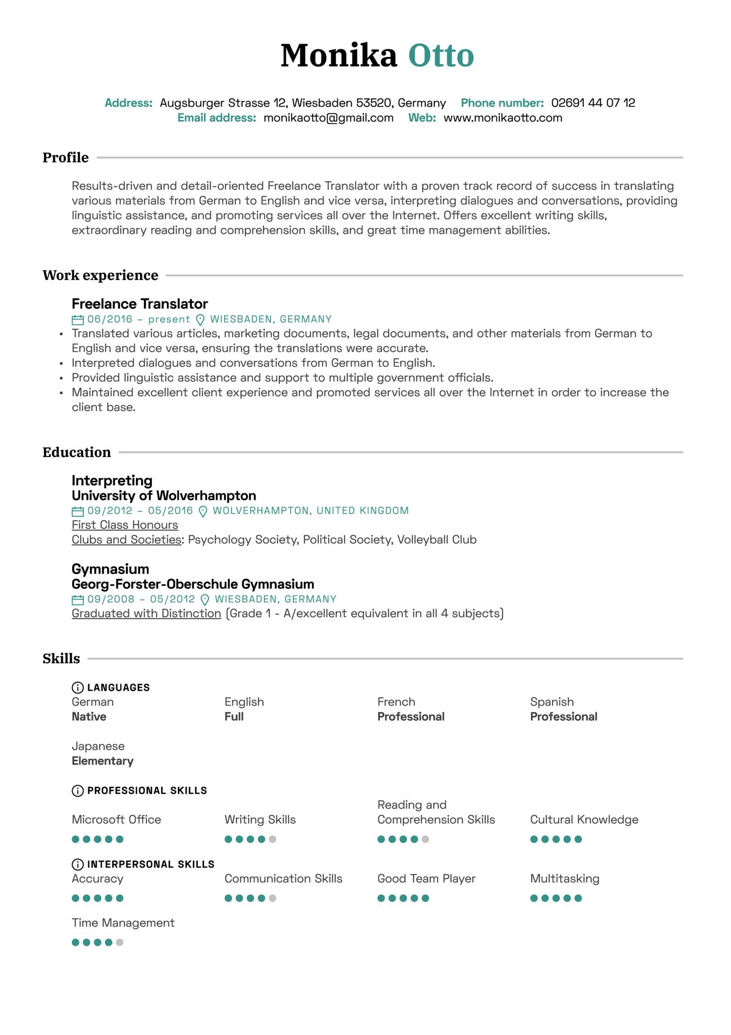 Translator Resume Sample (Part 1)