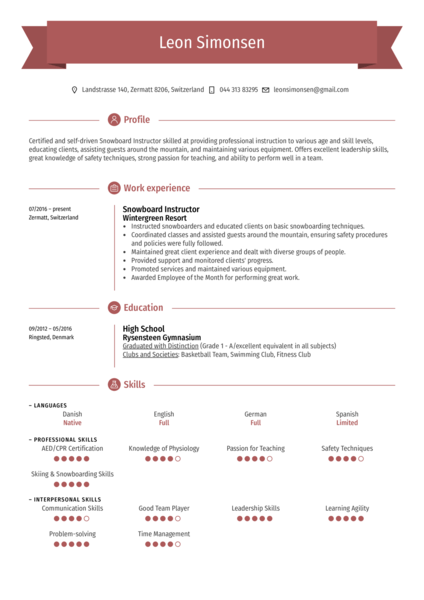 Snowboard Instructor Resume Sample