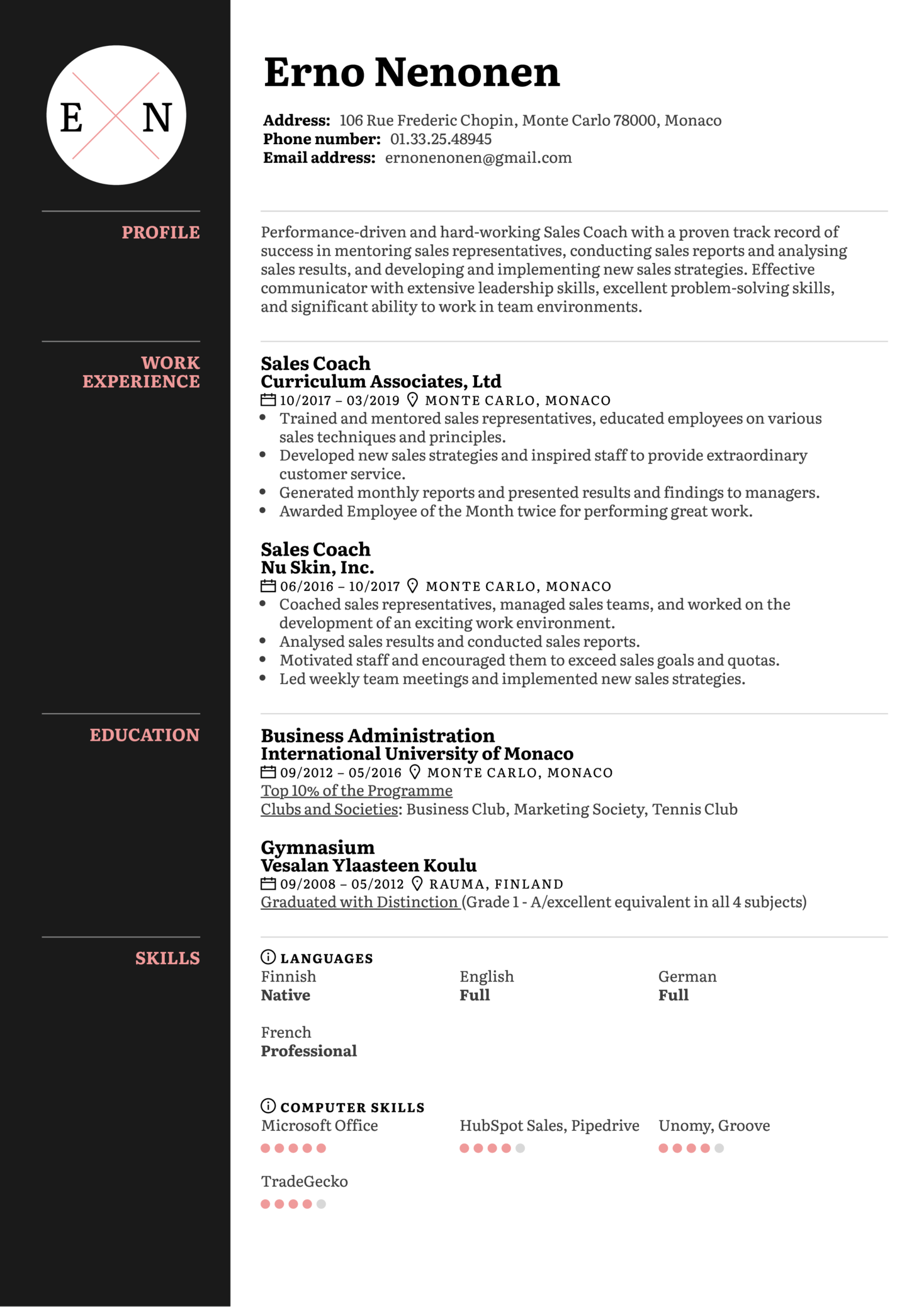 Sales Coach Resume Sample (parte 1)