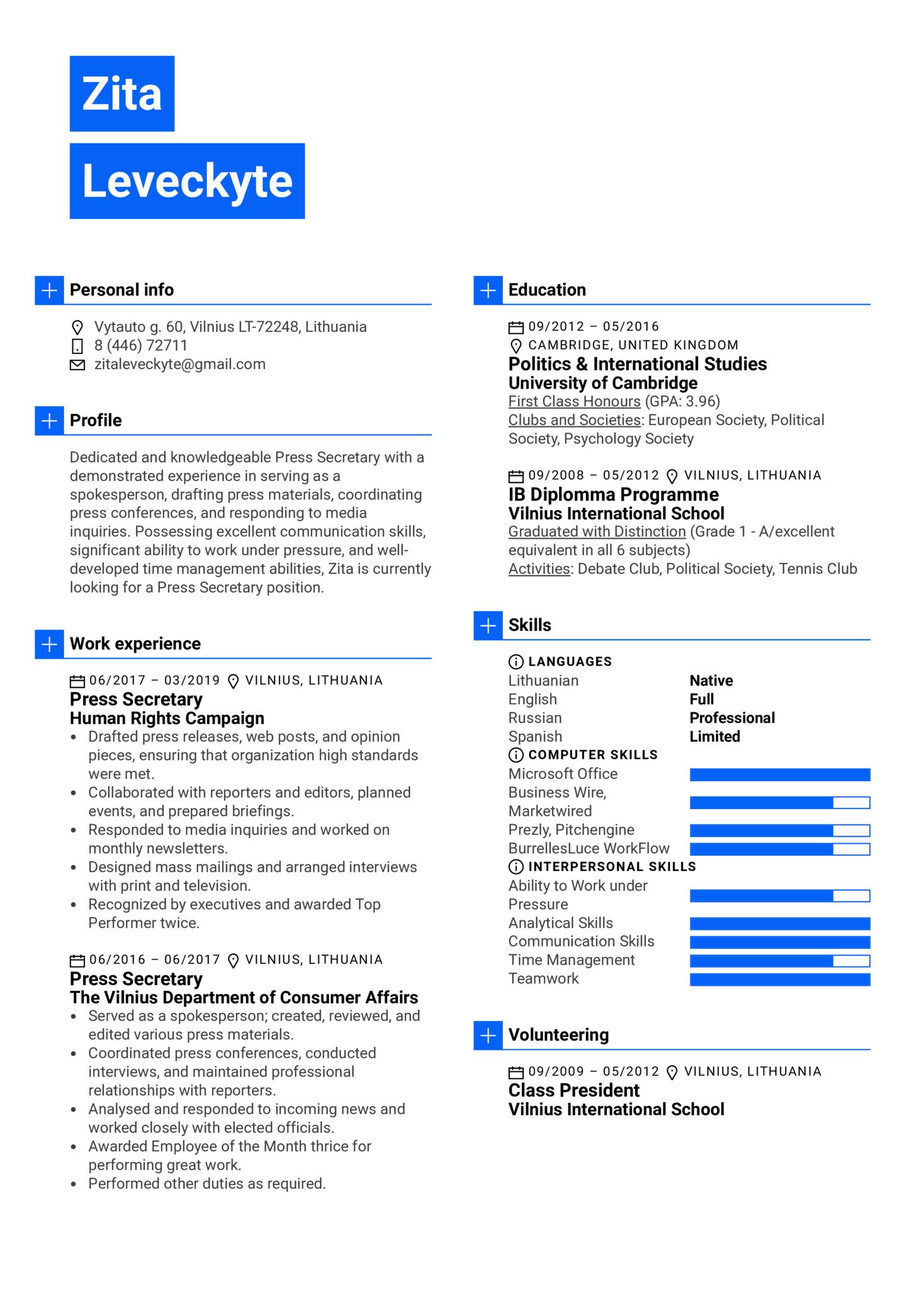 Press Secretary Resume Example (Teil 1)