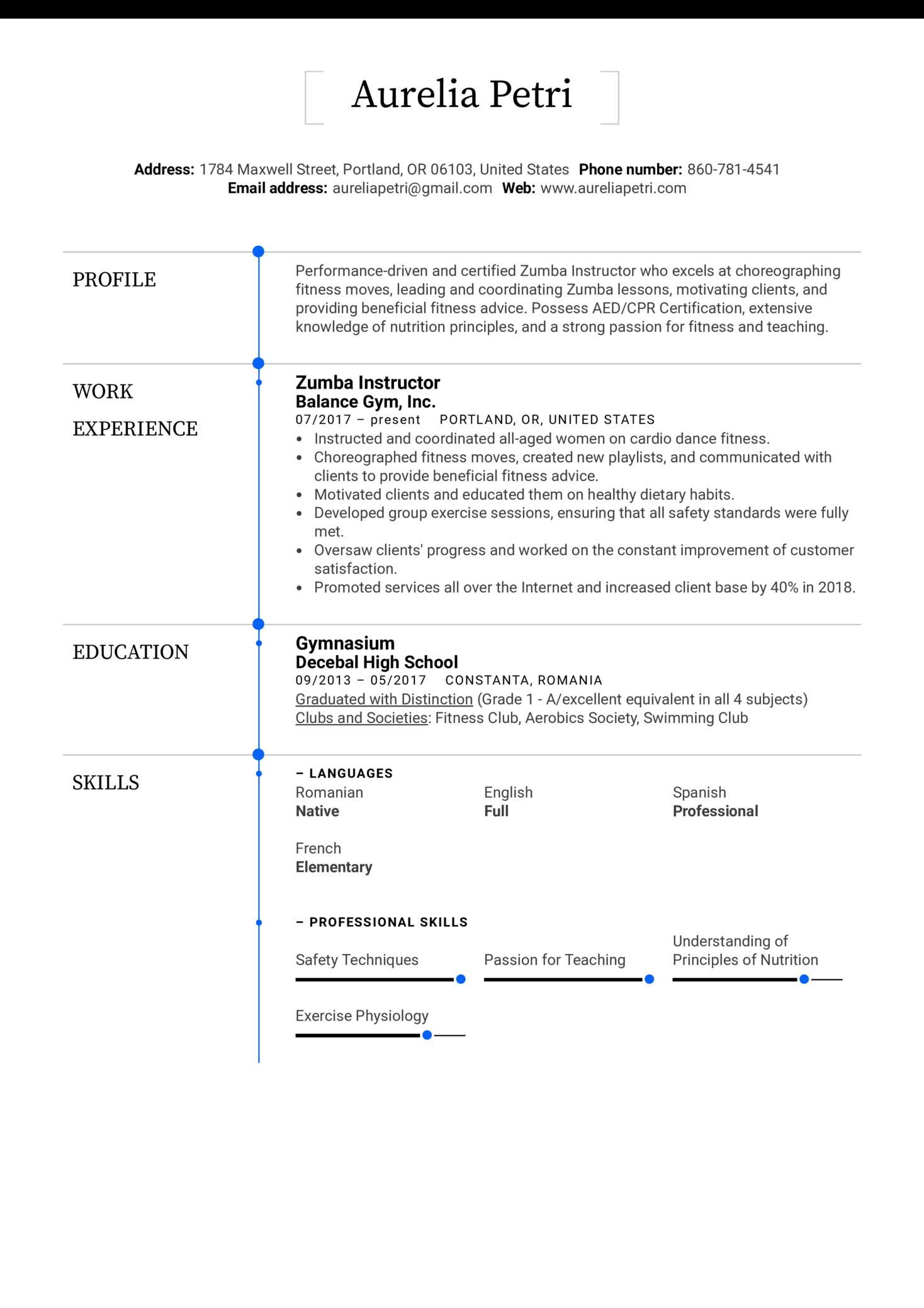 Zumba Instructor Resume Example (parte 1)