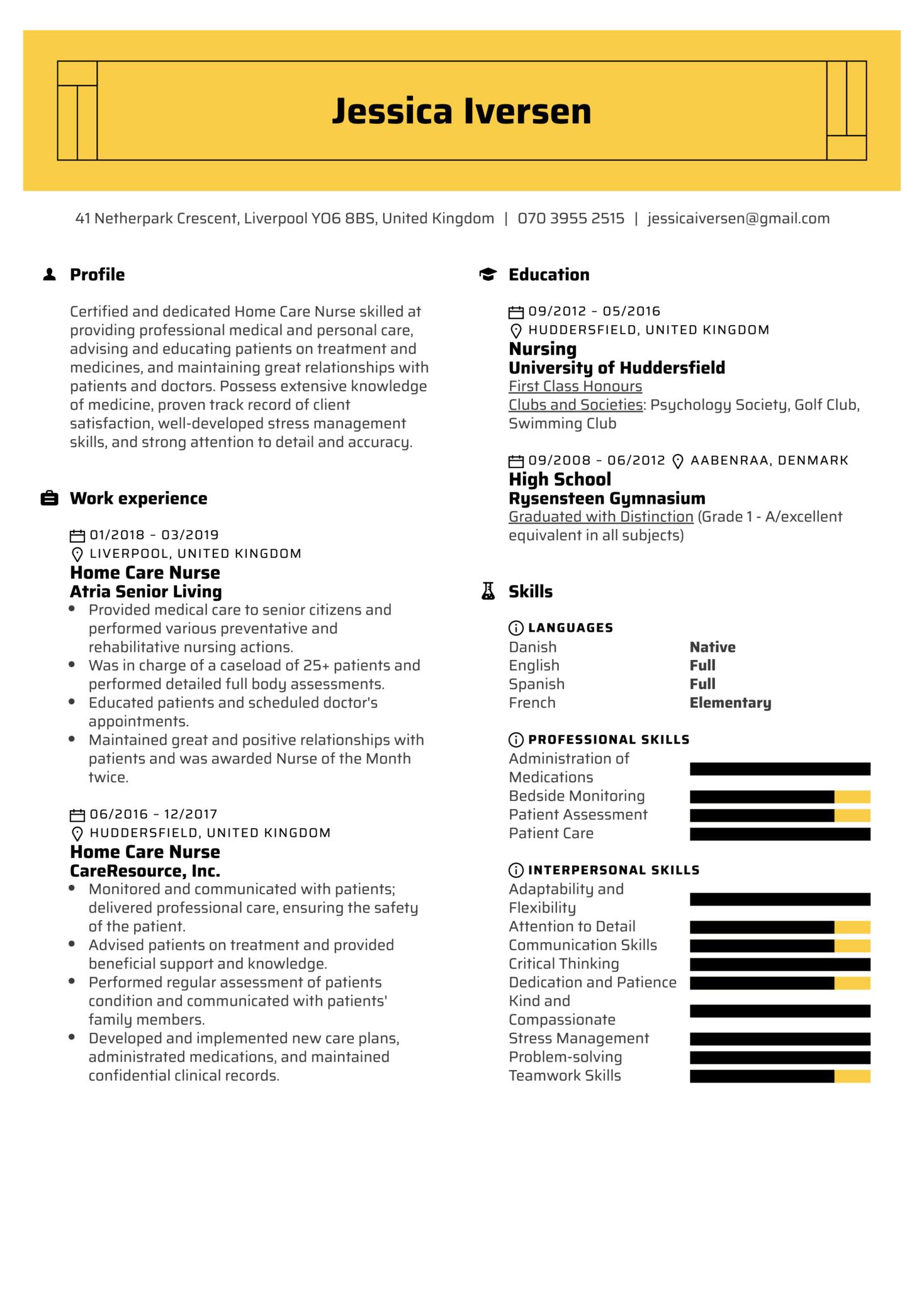 Home Care Nurse Resume Example (Part 1)