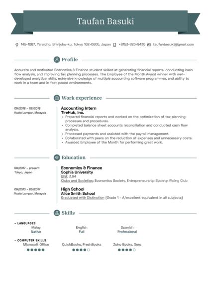 Accounting Intern Resume Sample