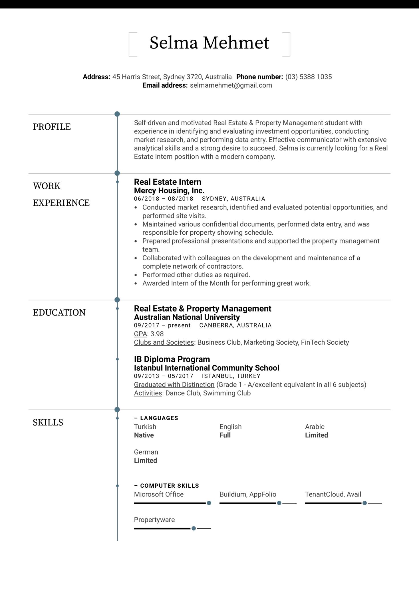 Real Estate Intern Resume Sample (Teil 1)
