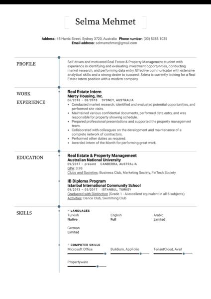 Real Estate Intern Resume Sample