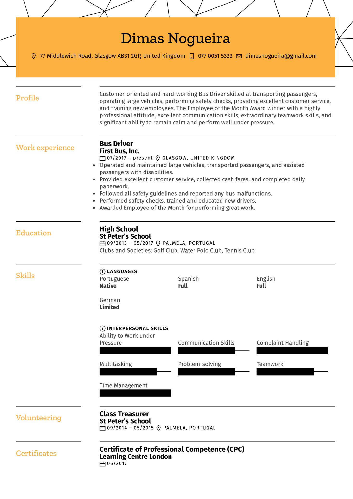 Bus Driver Resume Sample (časť 1)