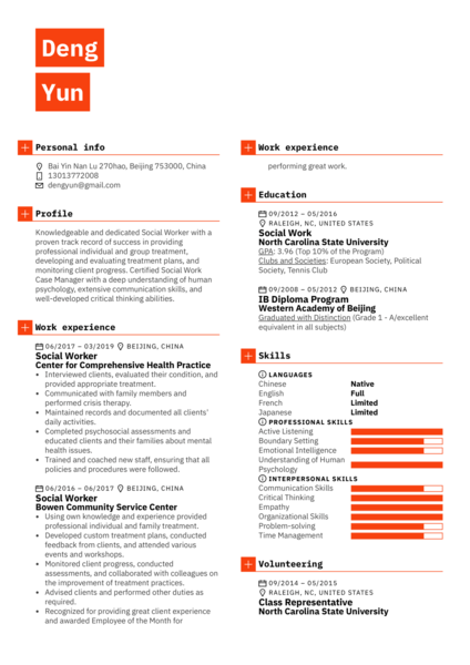Social Worker Resume Example