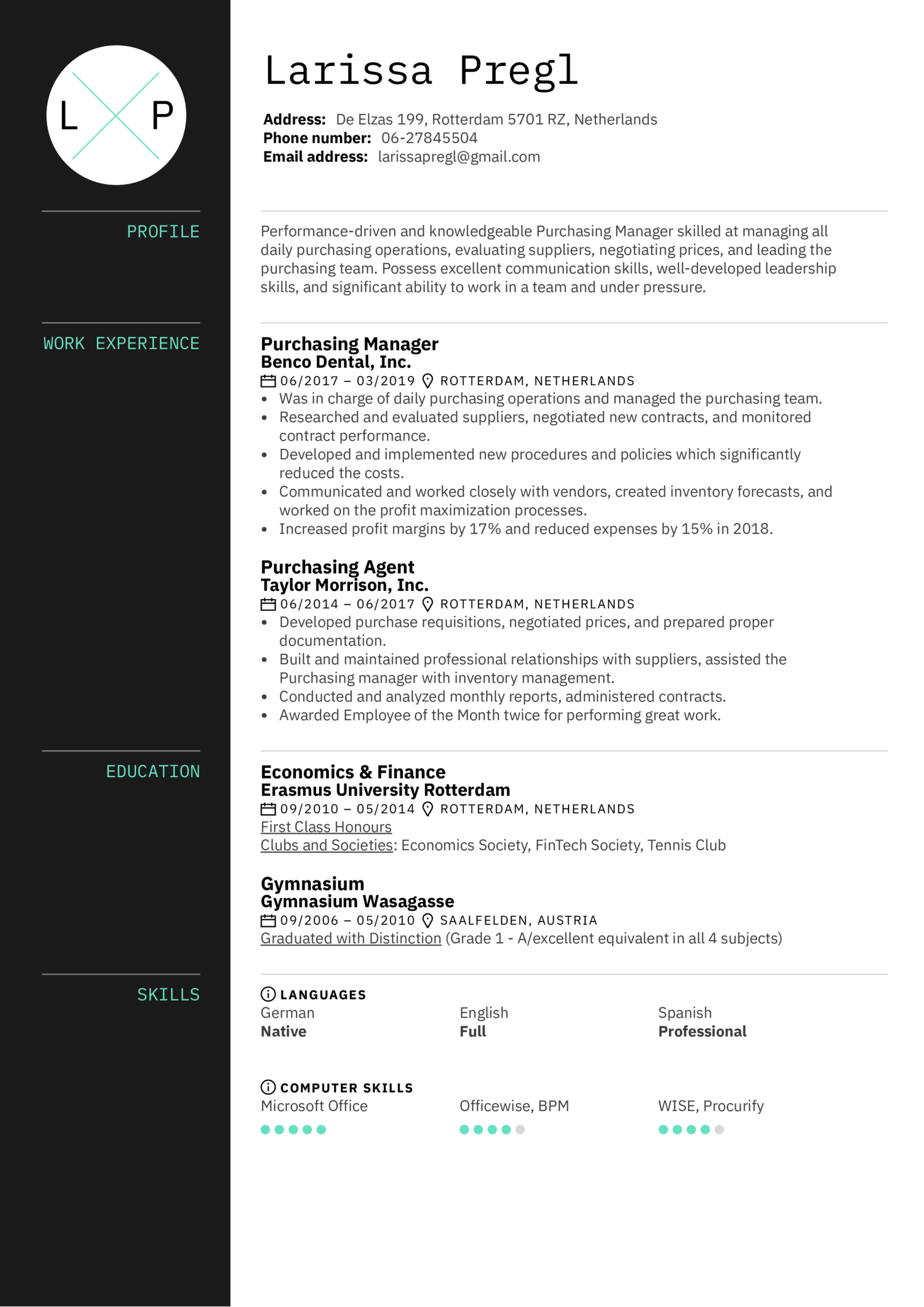 Purchasing Manager Resume Sample (Part 1)