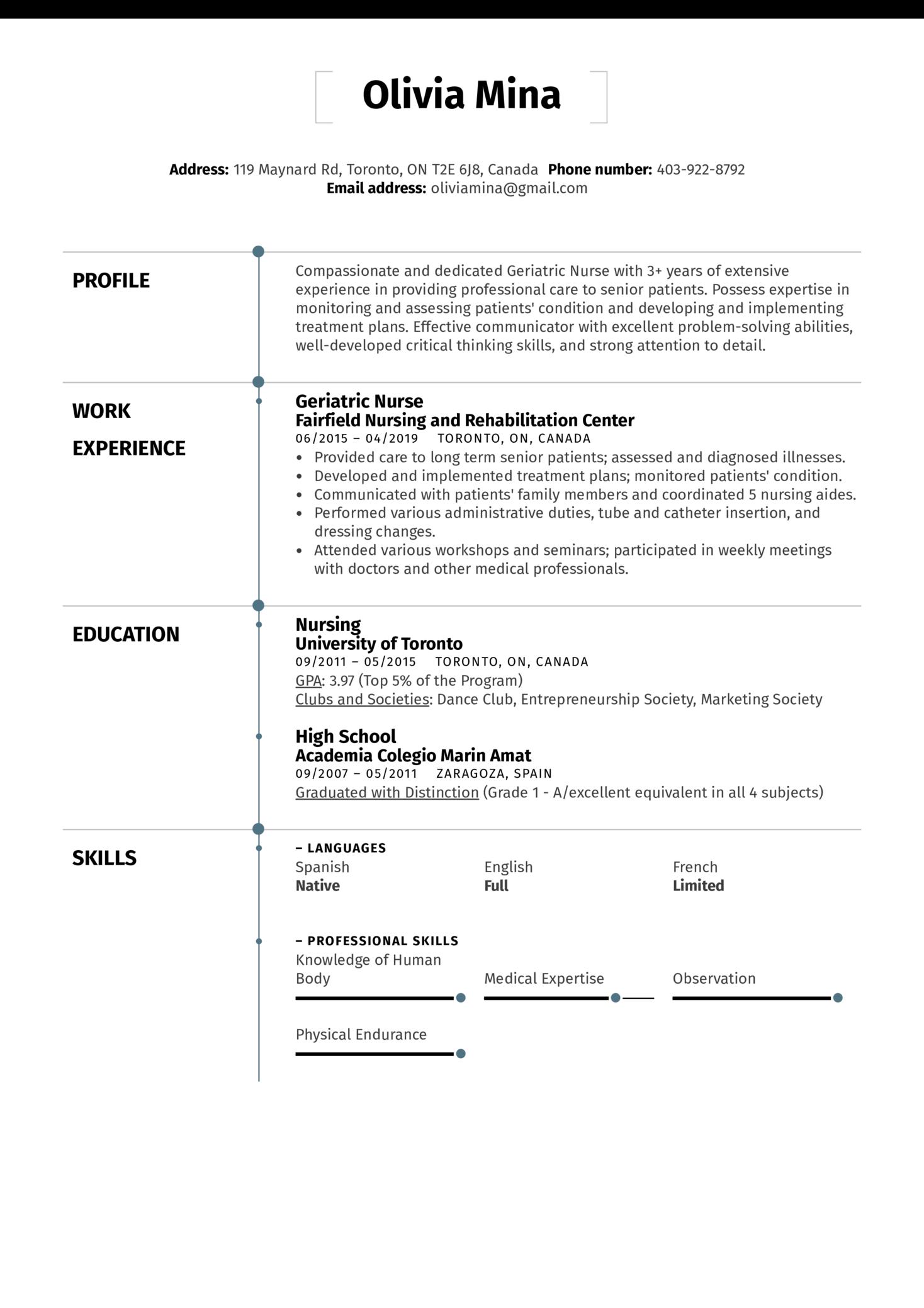 Geriatric Nurse Resume Sample (Part 1)