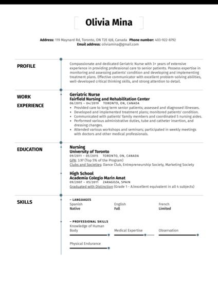 Geriatric Nurse Resume Sample