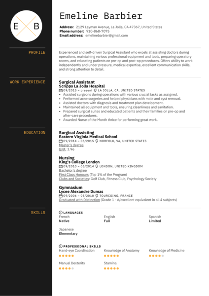 Surgical Assistant Resume Template